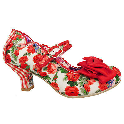 AU152.70 • Buy Irregular Choice 2019 Summer Breeze Floral Retro Vintage 1950s Red Rose Shoes