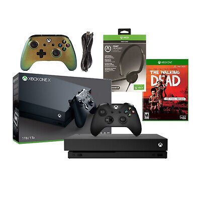 $349.99 • Buy Microsoft Xbox One X The Walking Dead Bundle + Headset + Extra Controller