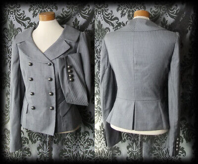 Goth Grey Fitted PENITENT Riding Jacket Coat 10 12 Victorian Military Steampunk • 36£