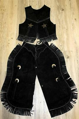 $42.50 • Buy Black Suede Leather Halloween Costume Western Cowboy Kids Youth Chaps Sm Med Lg