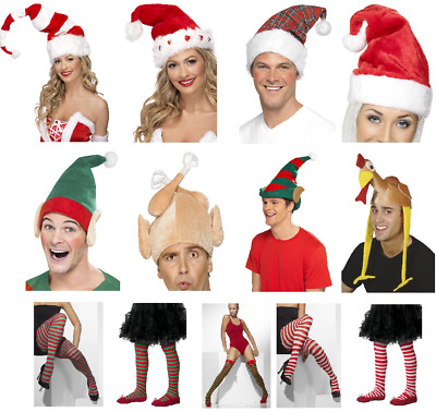 Adult Kids Christmas Elf Tights Hats Festive Fun Fancy Dress Costume Accessories • 2.99£