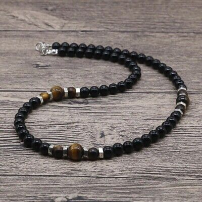 Men's Natural Tiger Eye Stone Natural Lava Stone Bead Necklace • 8.99£