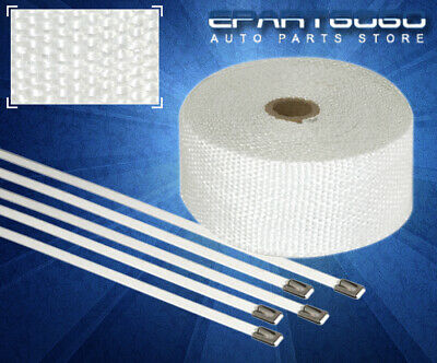 $ CDN28.89 • Buy 10M Fiberglass Intake Exhaust Thermal Heat Wrap Tape High Heat Cloth Roll White