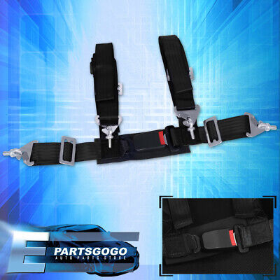 $ CDN32.59 • Buy 4-Point 2  Black Nylon Universal Strap Harness Safety Buckle Racing Seat Belt