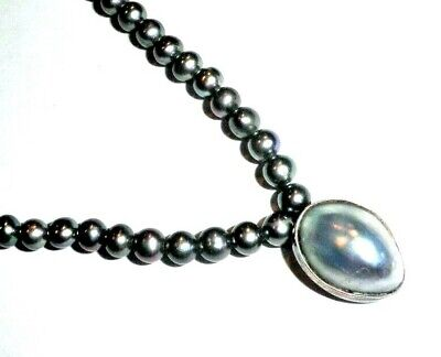 $143.34 • Buy Sterling Silver Black Rainbow Pearl Necklace Mabe Pearl Pendant 17.5