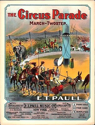 $34.99 • Buy The Circus Parade 1904 E T PAULL Lithograph Sheet Music BEAUTIFUL!