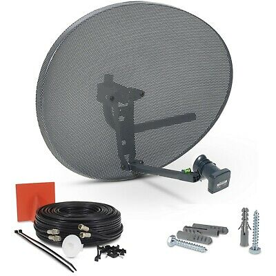 80cm Zone 2 Satellite Dish, Twin LNB + 20m Black Twin Cable Kit For Sky Freesat • 38.99£