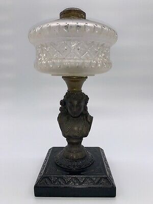 $69 • Buy Antique Victorian Gothic Cast Iron & Frosted Glass Figural Woman Girl Oil Lamp