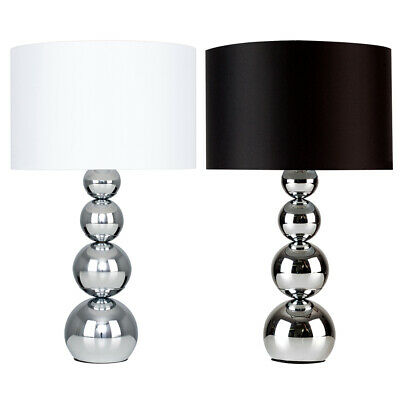 Modern Chrome Table Lamps Touch Dimmer Lights Faux Silk Lampshades Home Lighting • 19.99£