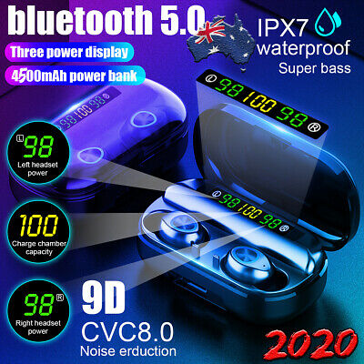 AU29.98 • Buy 4500mAh Bluetooth 5.0 Headphones Earbuds TWS LED Wireless Stereo Earphones IPX7