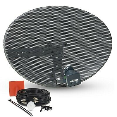 60cm Zone 1 Satellite Dish, Twin LNB + 20m Black Twin Cable Kit For Sky Freesat • 37.95£