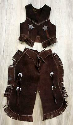 $42.50 • Buy BROWN Suede Leather Halloween Costume Western Cowboy Kids Youth Chaps Sm Or Lg