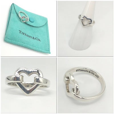 Authentic And Rare! Beautiful Silver  Tiffany & Co Heart Ring Size K • 114.99£