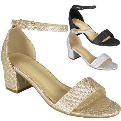 £9.99 • Buy Sandals Wedding Shoes Womens Glitter Bridesmaid Party Peep Toe Bridal Size