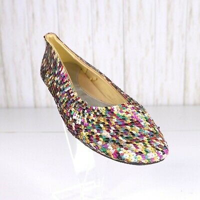 New Old Navy Sequin Ballet Flats Shoes Size 8 Womens Green Red Gold Festive • 19.77$