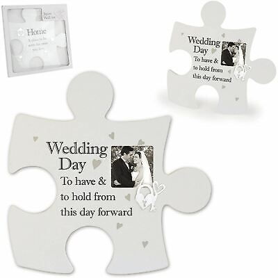 £14.89 • Buy Said With Sentiment Jigsaw Photo Frame Wall Art Wedding Day Couples Gift Idea