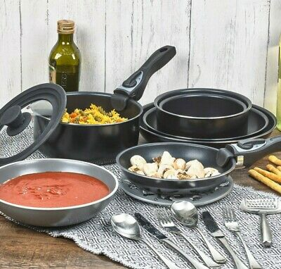 3 Pcs Black Ceramic Induction Cookware Sets Stackable Detachable Handle Pots Pan • 21.99£