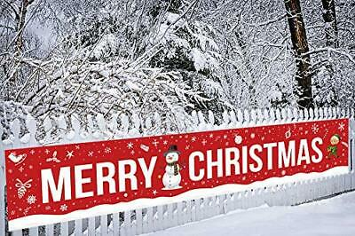 Merry Christmas Banner Holiday Decorations - Xmas Sign SnowOutdoor Indoor • 17.37$
