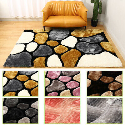 Large Thick Soft Rug 3d Textured Pile Pebble Stepping Stones Floor Carpet Mat Uk • 59.95£