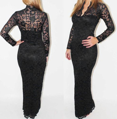 £13.99 • Buy Women Maxi Lace V-Neck Bodycon Evening Party Long-Sleeve Dress Prom