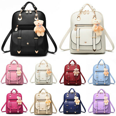 PU Leather Bag Shoulder School Bags Travel Backpack Rucksack For Women Girls UK • 15.99£