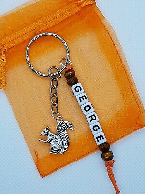 £3.29 • Buy  Personalised Squirrel Keyring, Squirrel Gifts, Squirrel Lover, Animal Gift