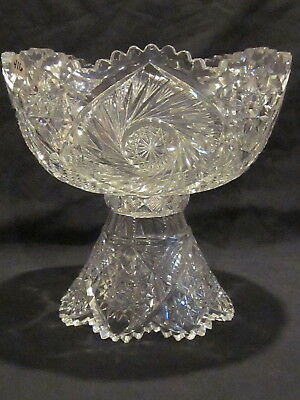 ABP Libbey Cut Glass Punch Bowl & Stand Buzzsaw & Hobstar Cutting • 679.99$