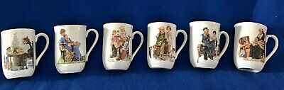 $ CDN15.14 • Buy Collection Set Of  Six Norman Rockwell Museum Porcelain Coffee Mugs Dated 1982
