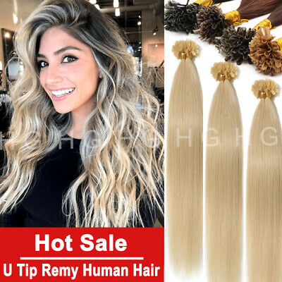 $22.88 • Buy Double Thick Keratin Nail U Tip Real Human Hair Extensions 1g Straight US Stock