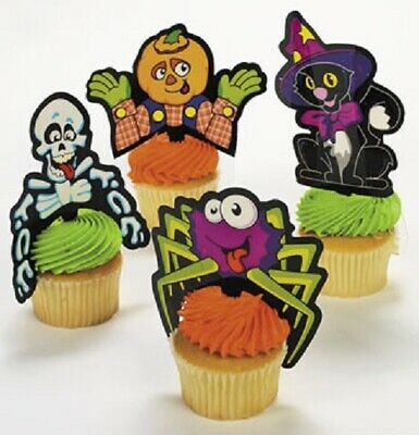 $9.99 • Buy Lot Of 24 Plastic Halloween Character Cupcake Picks Party Decorations