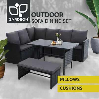 AU939.95 • Buy Gardeon Outdoor Dining Set Sofa Lounge Setting Chairs Table Bench Lawn Black