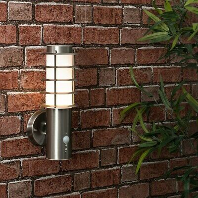 Outdoor LED Wall Light PIR Sensor Lantern Stainless Steel Outside Lighting IP44 • 27.99£