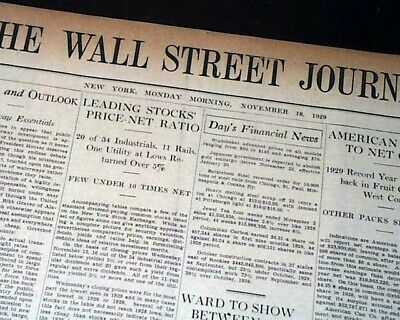 $52 • Buy Very Rare WALL STREET JOURNAL Just After Great Stock Market Crash 1929 Newspaper