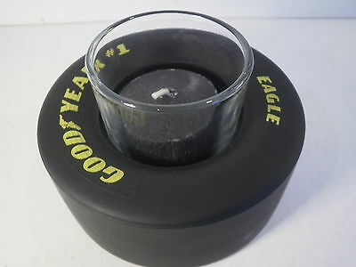 Black Candle Goodyear Tire NASCAR Rubber Racing Slick Unscented Glass Votive New • 4.77$