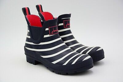 Joules Womens Wellibob Short Rain Boot French Navy Strip Size US 7 M EU 38 Used • 24.95$