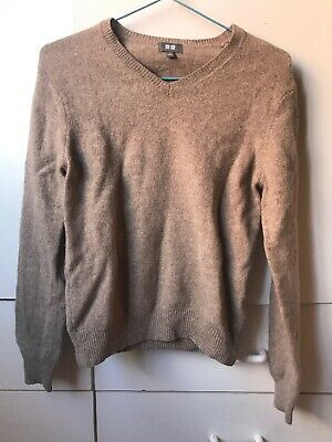 AU15 • Buy Uniqlo Taupe Brown Pure New Wool V Neckline Knit Top Jumper Layering-S