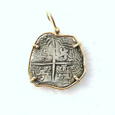 ATOCHA Spain Reale Silver Coin Cob Pendant 14k Yellow Gold Treasure Jewelry • 249$