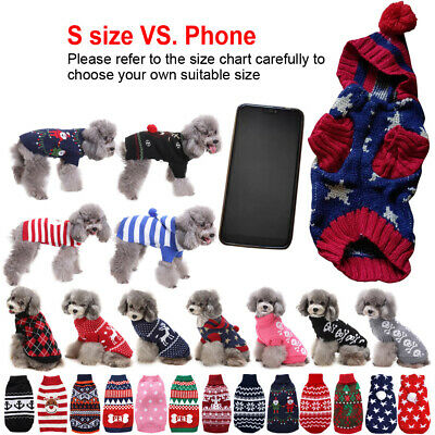 Small Pet Dog Cat Christmas Puppy Chihuahua Jumper Knit Sweater Hoodie Clothes • 4.88£