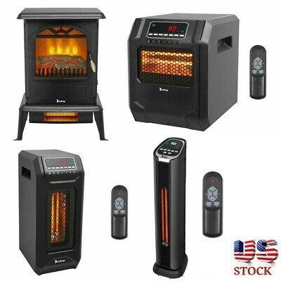 1500W Infrared Space Heater Electric Fireplace Quartz LED Safe Fire Stove Remote • 61.99$
