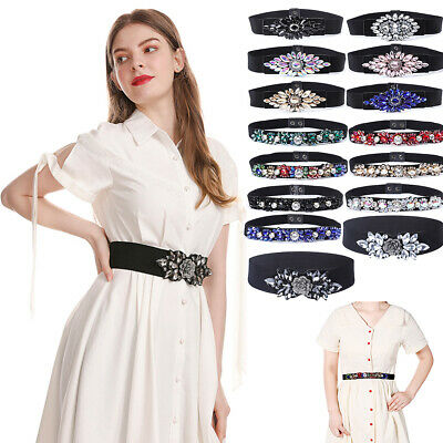 Baroque Ladies Buckle Belts Stretchy Waist Belt Dress Crystal Waistband Party • 8.07£