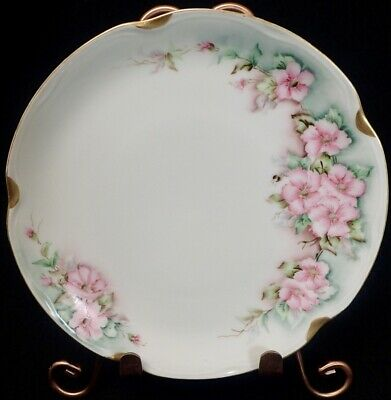 $9.95 • Buy ANTIQUE J & C LOUISE BAVARIA Pink Flowers Hand Painted PLATE Germany 8 1/2