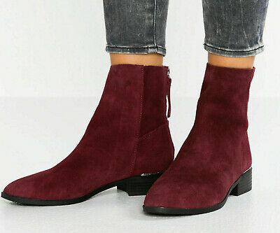 £8.95 • Buy TopShop Womens Koko Burgundy Suede Leather Ankle Boots RRP £49.00 *SALE*