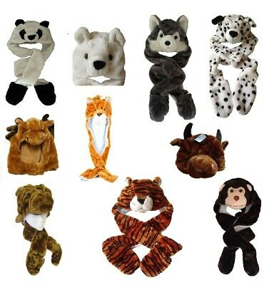 Furry Animal Trapper Hat Scarf Gloves 3 In 1 Christmas Kids Winter Warmer Fun • 18.50£
