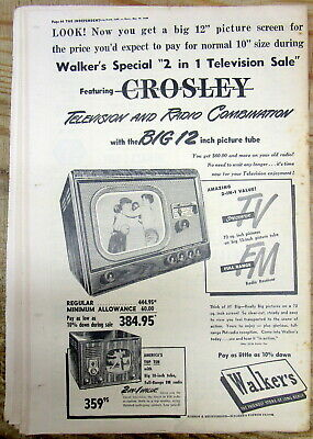 1949 Illustrated Ad For CROSLEY Black & White Television Set With 12 Inch Screen • 23.08£