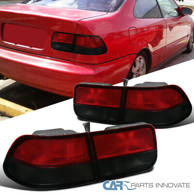 $87.95 • Buy For 96-00 Honda Civic 2Dr Coupe Red/Smoke Rear Tail Lights Parking Brake Lamps