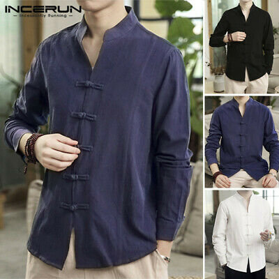 £10.99 • Buy Retro Chinese Men's Casual Long Sleeve Linen Cotton Loose Buttons Tops T Shirts
