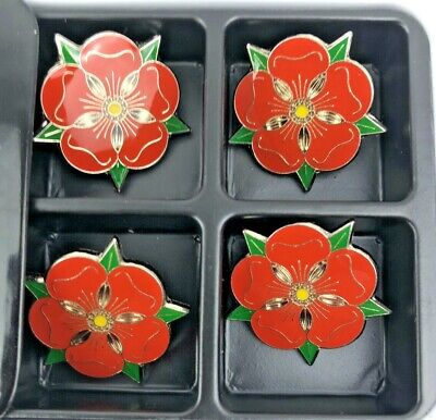 4 Lancashire County Red Rose Quality Enamel Lapel Pin Badges. Made In Britain. • 12.50£