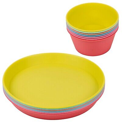 £9.99 • Buy 6x Colorful Reusable Plastic Outdoor Childrens Picnic Party Bowls And Plates Set