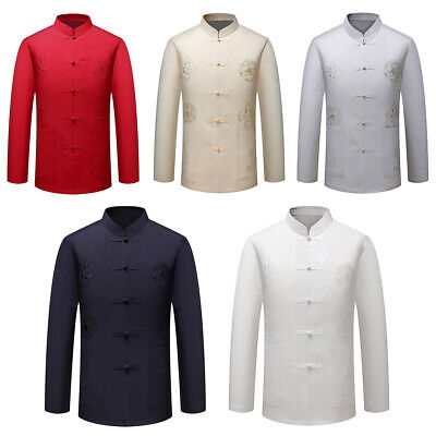 $26.74 • Buy Men Linen Traditional Chinese Clothing Tang Suit Coat Tai Chi Kung Fu Costume