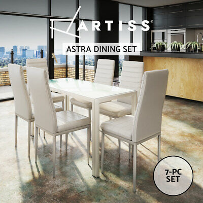 AU259.95 • Buy Artiss 7-pc Dining Table And Chairs Set Glass Tables Leather Seat Chair White